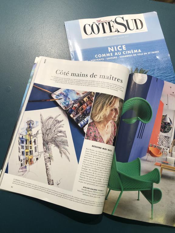 Côté Sud - point sur atelier Sylvie T Nice dans magazine - Illustration architecture