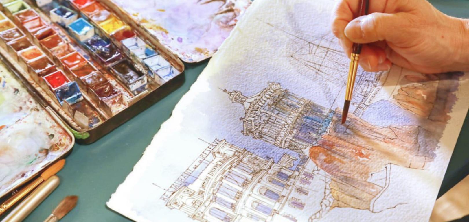 Aquarelle et dessin pour architectes Nice - French Riviera - Sylvie T